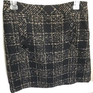 LOFT EUC fuzzy Black and Tan plaid design skirt
